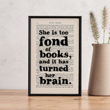 "Little Women ""She Is Too Fond Of Books"" Book Lover Quote - Framed Book Page"