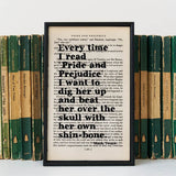 "Mark Twain ""Every Time I Read Pride and Prejudice..."" Quote - Framed Book Page Print"
