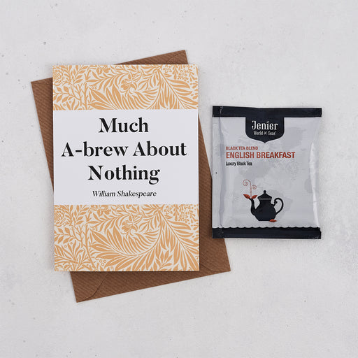 Literary Tea Pun Card With Tea Bag - 'Much A-Brew...'