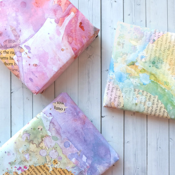 Pack Of Three Wrapping Paper Sheets - Watercolour Effects