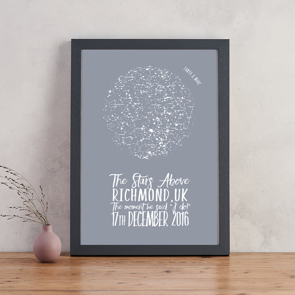 personalised original star chart map of the stars print bookishly
