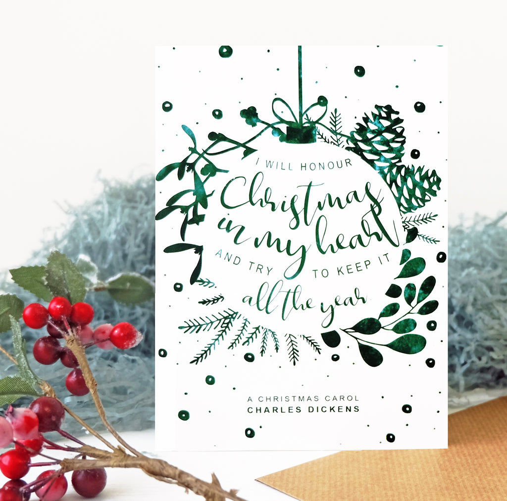 Christmas Card Charles Dickens 'I Will Honour Christmas' Quote