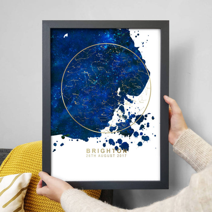Personalised Map of the Stars Print - Blue Blot and Gold Foil