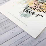 """You're Entirely Bonkers"" Alice In Wonderland Quote - Watercolour Print"