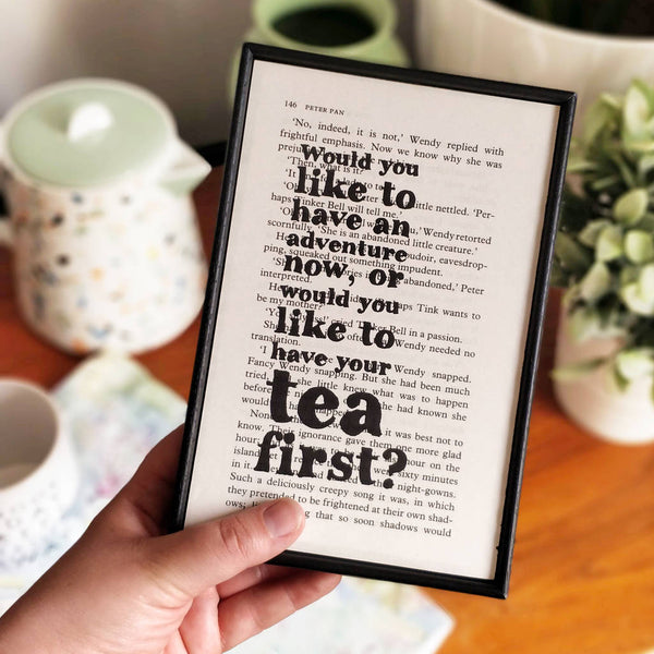 "Peter Pan ""Would You Like To Have An Adventure"" Tea Quote - Framed Book Page Art"
