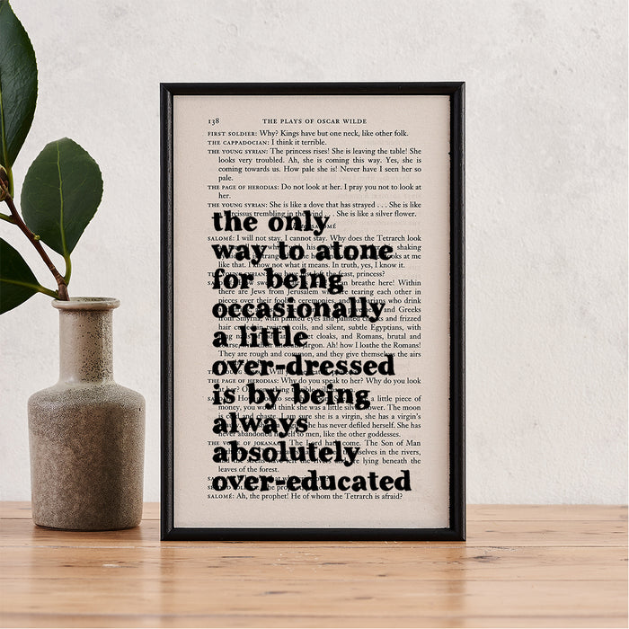 "Oscar Wilde ""Always Absolutely Over-Educated"" Quote - Framed Literary Book Page Print"