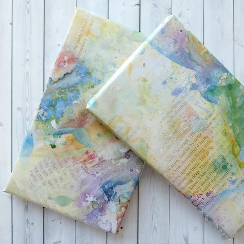 Wrapping Paper Sheets - Book Page And Pastel Watercolour Blot Design