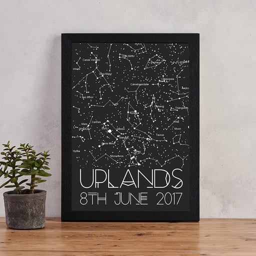 personalised colour block star chart map of the stars print bookishly