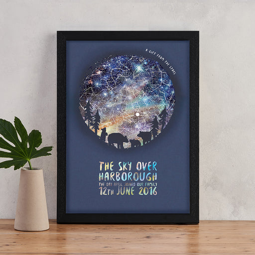 Personalised Star Map Family Print - Silhouette Designs