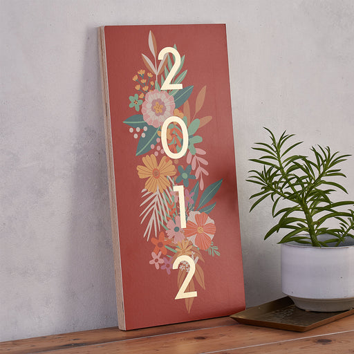 Personalised Gold Foil Floral Year Sign