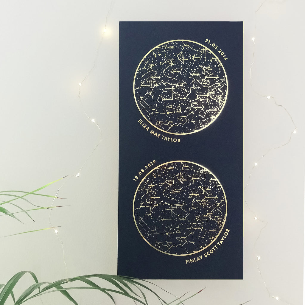 navy and gold foil double personalised star map on a wooden ply block.