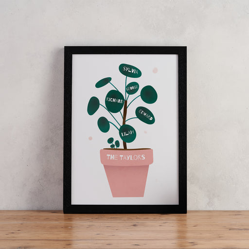 Personalised Houseplant Family Tree Print - Pilea Print