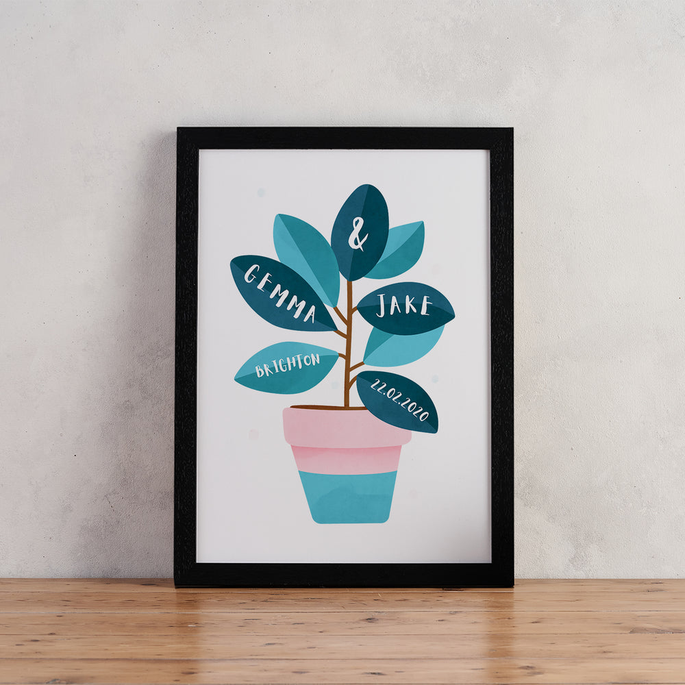 Personalised Botanical Wedding Print - Houseplant Print