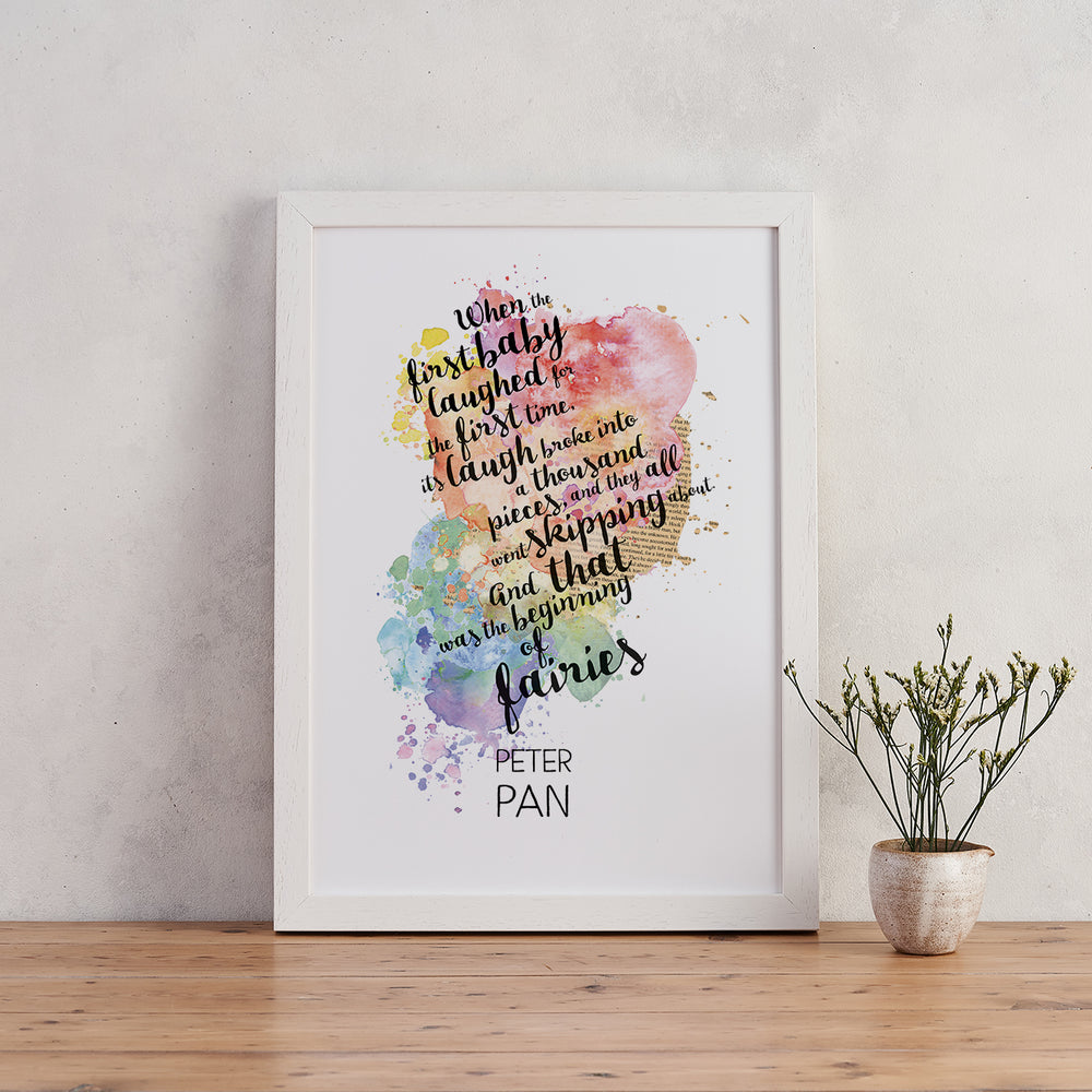 New Baby ' Beginning Of Fairies '  Peter Pan Watercolour Quote Print