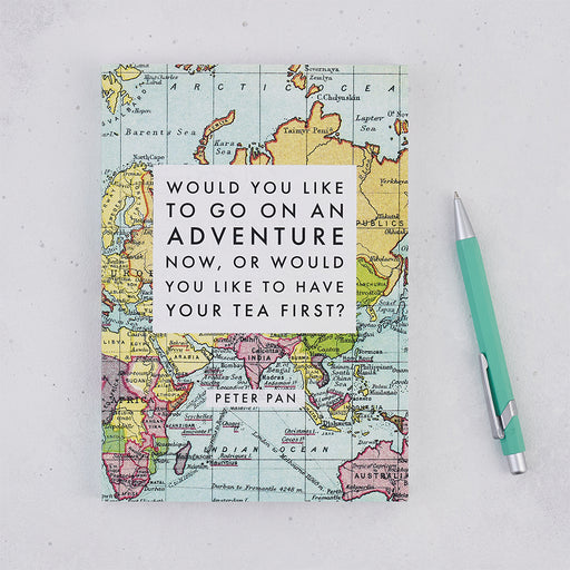 "Travel Journal Gift 'Adventure Now Or Tea First?"" Peter Pan Gift"