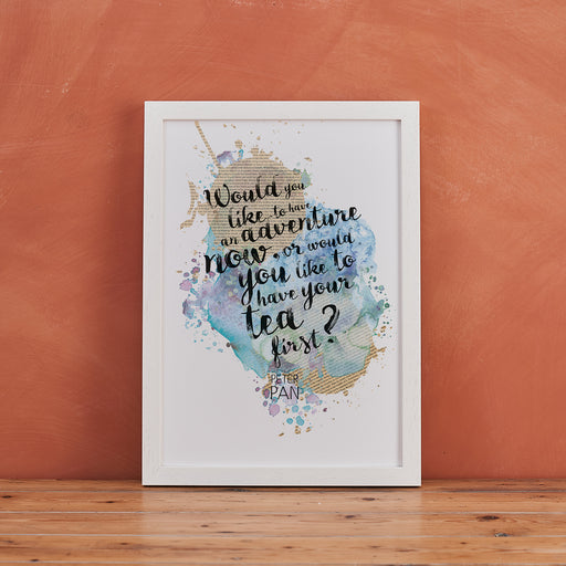 """Would You Like To Have An Adventure Now..."" Peter Pan Quote - Watercolour Print"