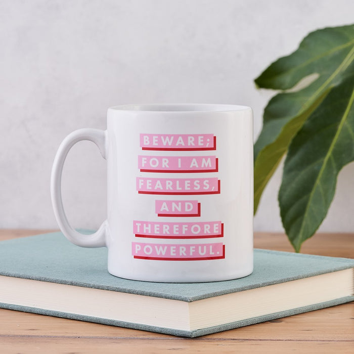 pink and red mary shelley beware for i am fearless mug gift for her bookishly