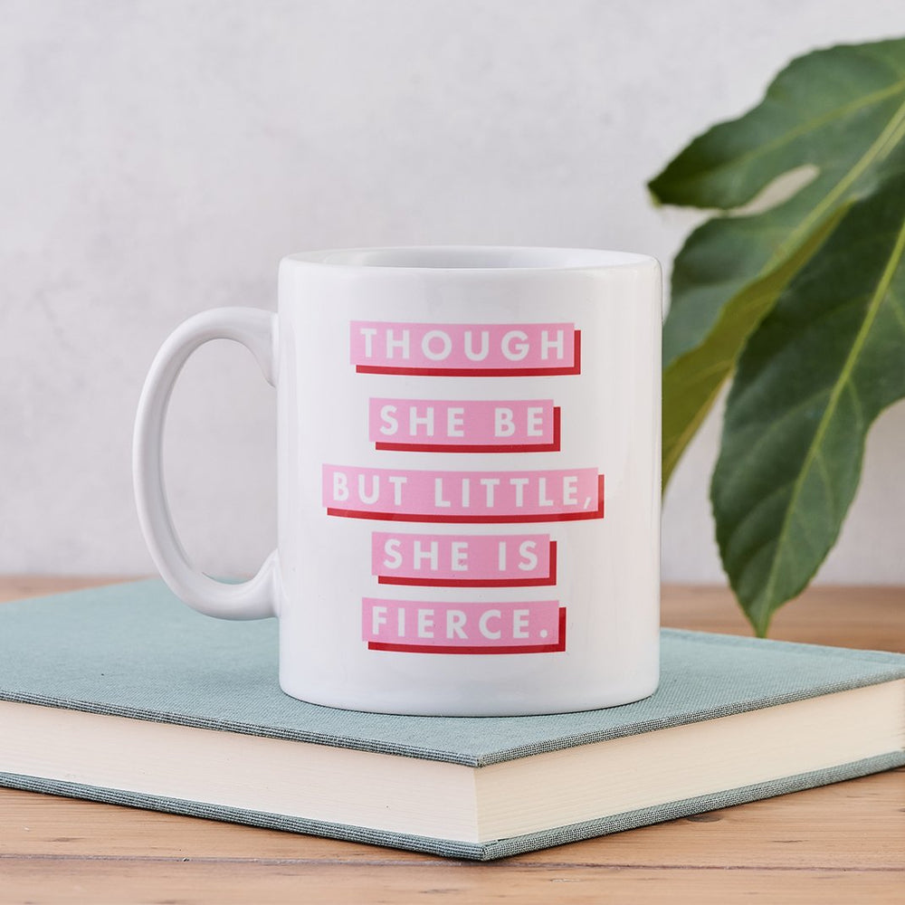 pink and red shakespeare though she be but little she is fierce mug gift for her bookishly