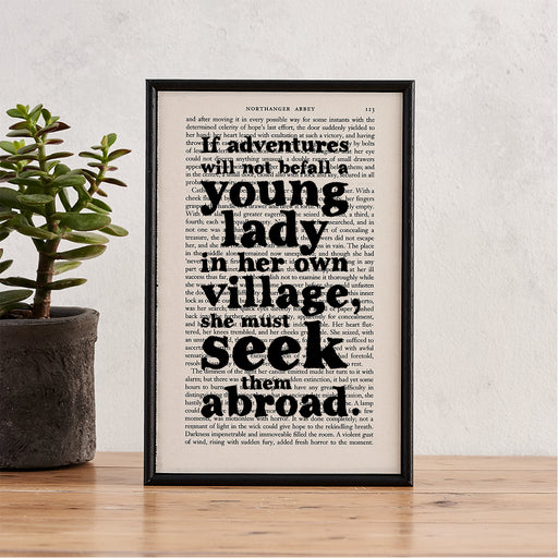 Northanger Abbey 'She Must Seek Them Abroad' Travel Quote - Framed Book Page Art