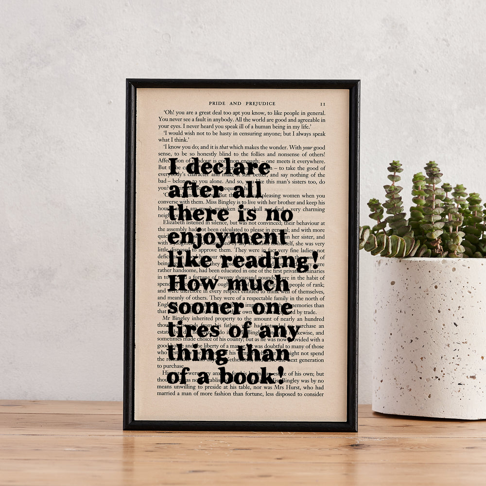 "Pride and Prejudice ""I Declare After All"" Book Page Print"