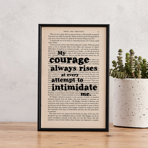 "Pride & Prejudice Quotes ""My Courage Always Rises..."" Framed Book Page Art"