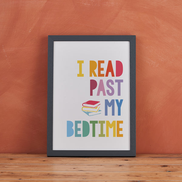 "Children's Wall Art ""I Read Past My Bedtime"" Reading Quote - Scandinavian Print"