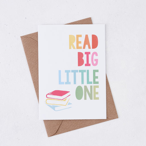 read big little one card rainbow design