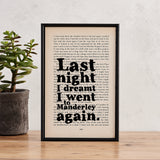 "Daphne Du Maurier ""Last Night I Dreamt I Went To Manderley"" Rebecca Quote - Framed Book Page Print"