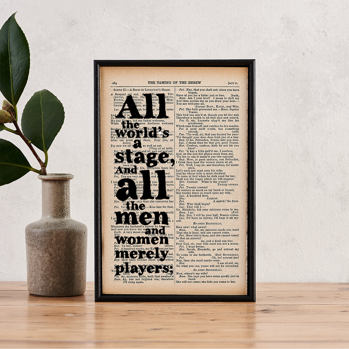 "Shakespeare ""All The World's A Stage"" Quote - Framed Quote ..."