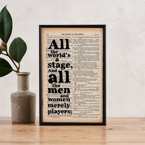 "Shakespeare ""All The World's A Stage"" Quote - Framed Typographical Book Page Print"