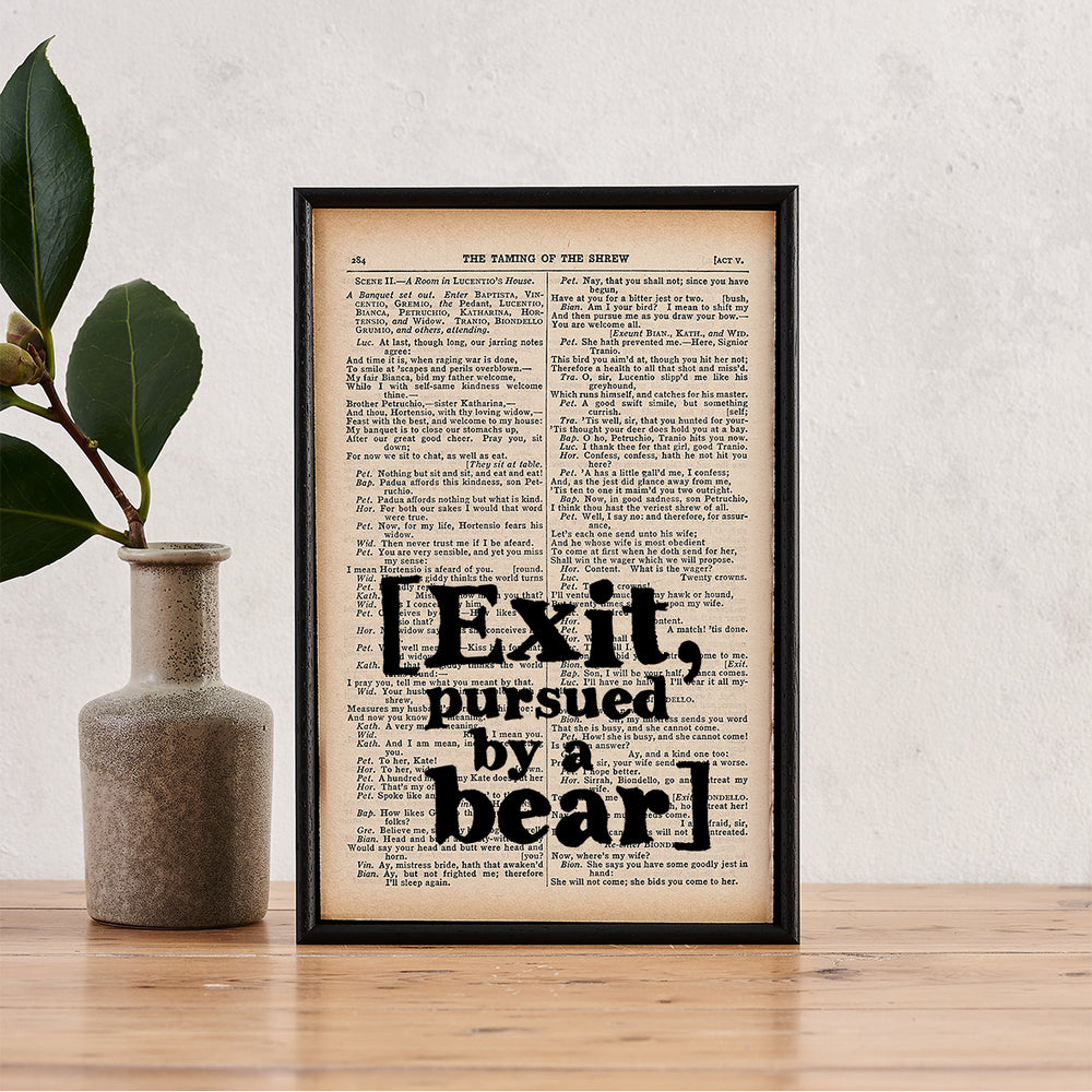 "Shakespeare ""Exit, Pursued By A Bear"" Quote - Framed Book Page Print"