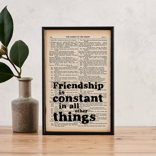 "Shakespeare ""Friendship Is Constant"" Quote - Vintage Book Page Print"