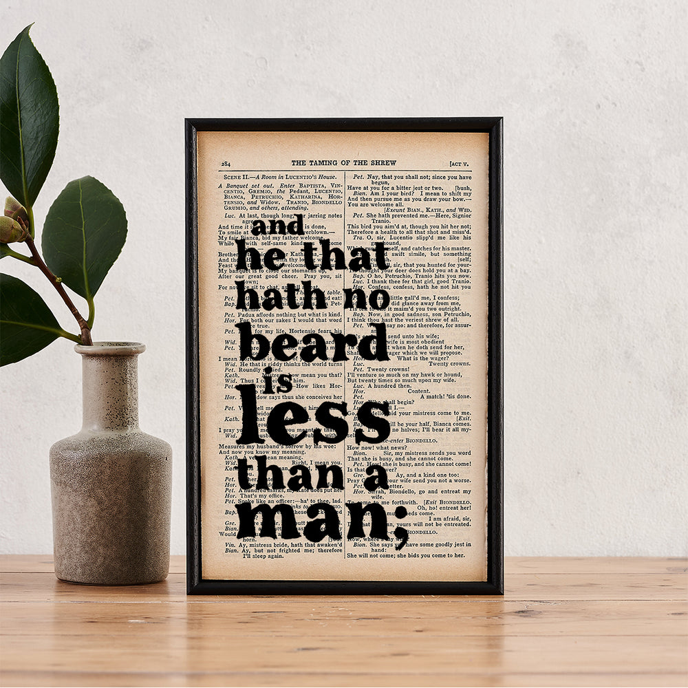 "Shakespeare ""He That Has No Beard Is Less Than A Man"" Quote - Framed Book Page Print"