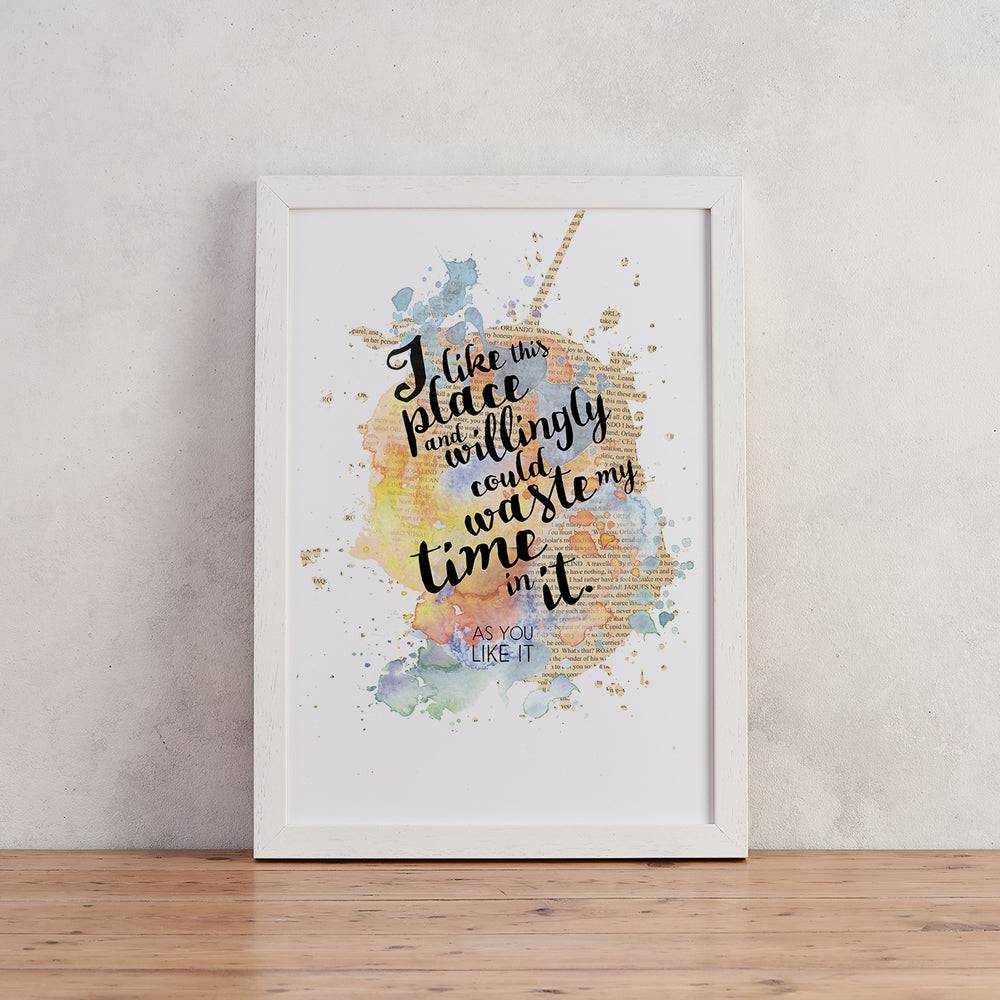 """I Like This Place..."" Shakespeare Quote - Watercolour Print"