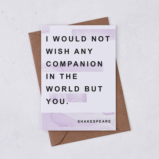 shakespeare i would not wish any companion in the world anniversary card marble design bookishly
