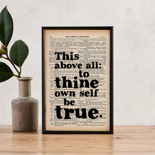 "Shakespeare ""To Thine Own Self Be True"" Quote - Framed Book Page Print"