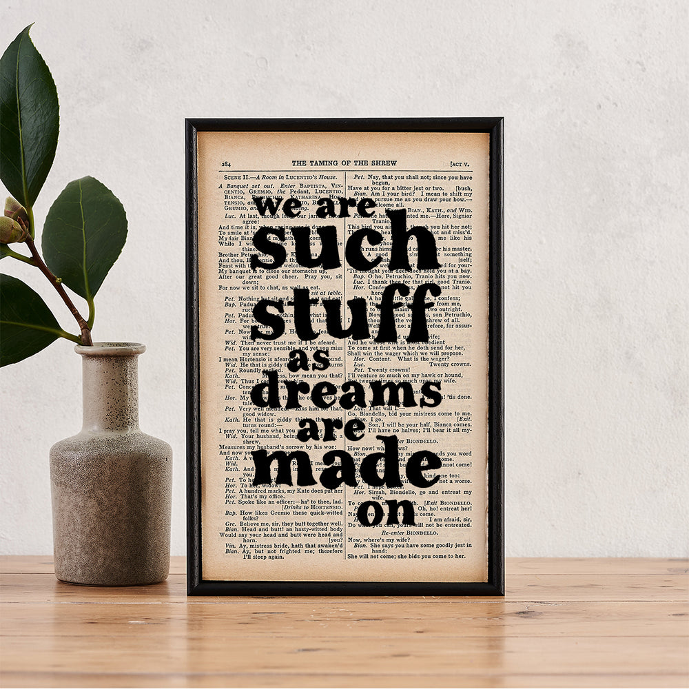 "Shakespeare ""We Are Such Stuff Dreams Are Made On"" Quote - Framed Typographical Book Page Print"