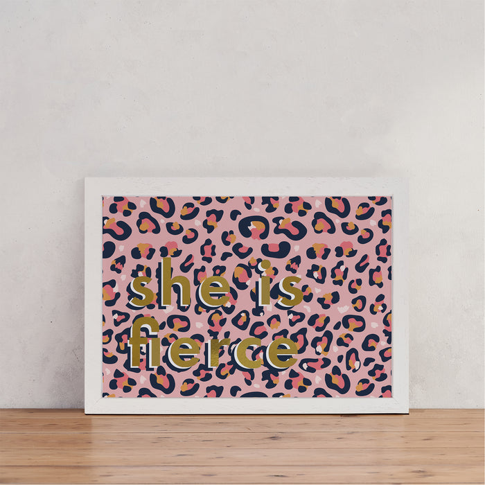 "Pink Leopard Print ""Fierce"" Wall Art"