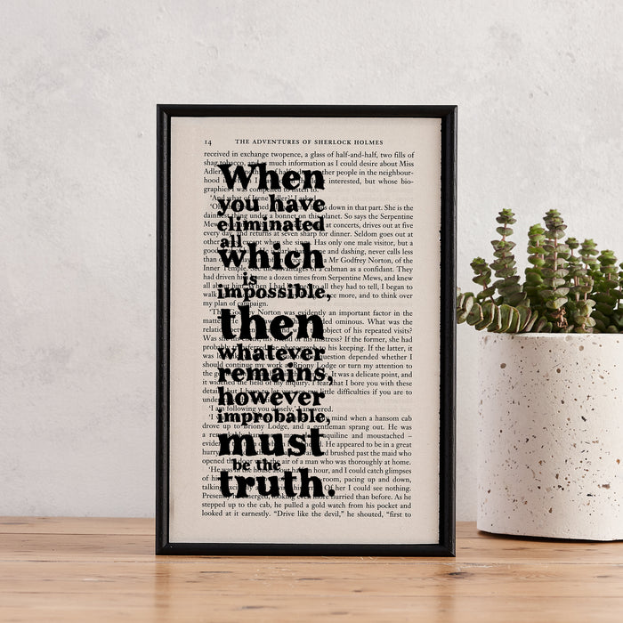 "Sherlock Holmes ""When You Have Eliminated All Which Is Impossible..."" Quote - Framed Typographic Book Art Print"