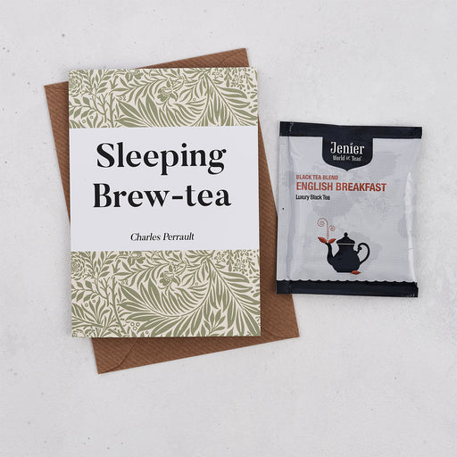 Literary Tea Pun Card With Tea Bag - 'Sleeping Brew-Tea'