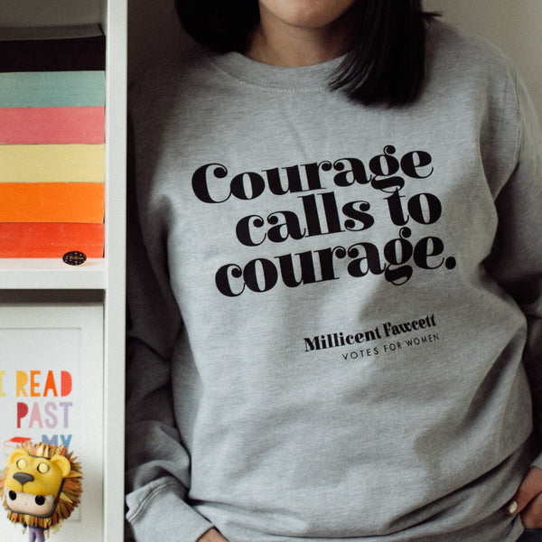 "1d772e1e Feminist Clothing ""Courage Calls To Courage"" Votes For Women Sweatshirt"