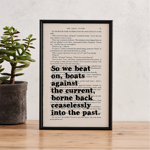 "Great Gatsby ""So We Beat On, Boats Against The Current..."" Quote - Framed Book Page Print"