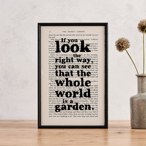 "Secret Garden ""You Can See That The Whole World Is A Garden"" Inspirational Quote - Framed Literary Book Page Art"