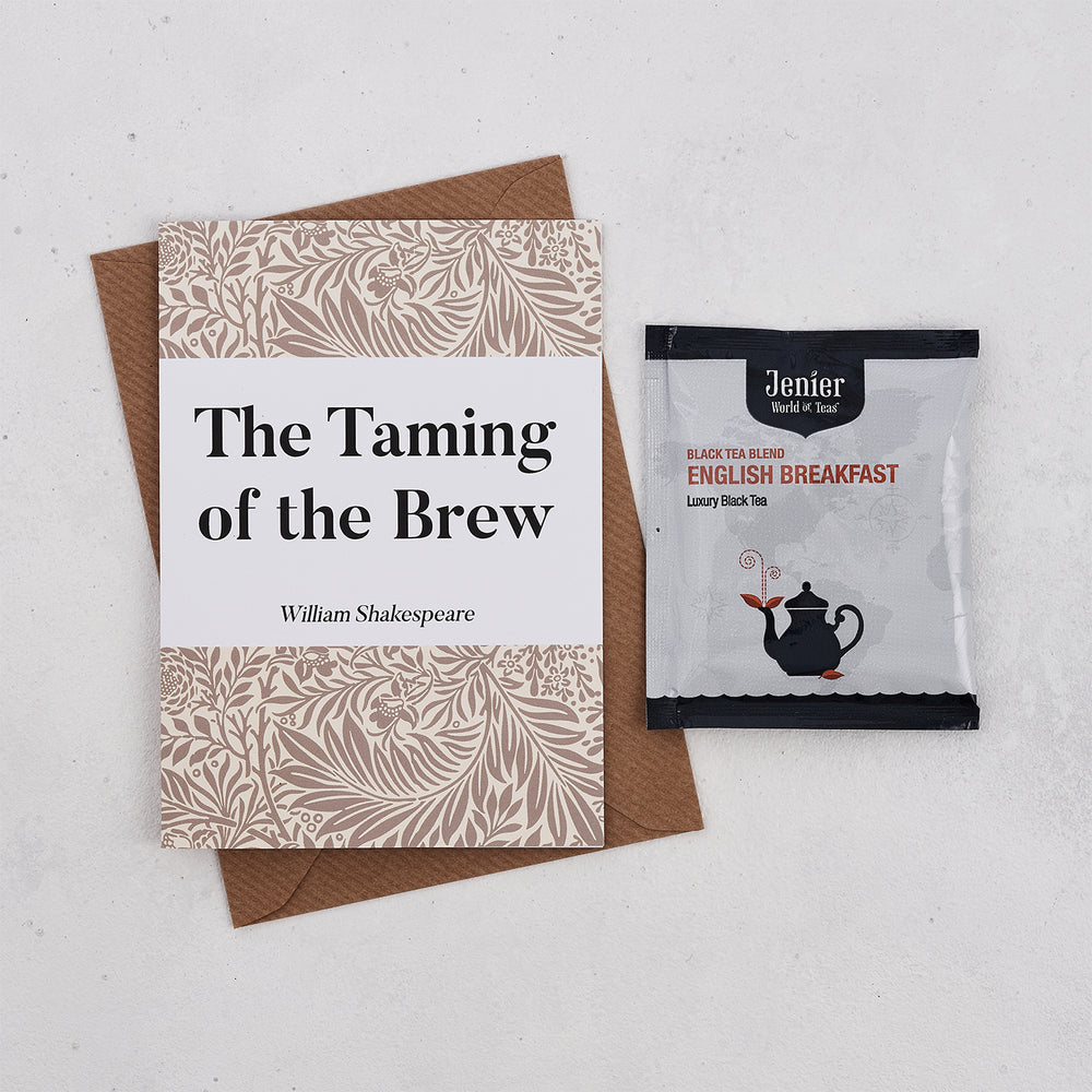 Literary Tea Pun Card With Tea Bag - 'Taming Of The Brew'