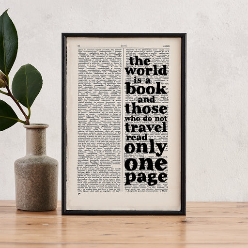 "St Augustine ""The World Is A Book"" Framed Travel Book Art Quote"
