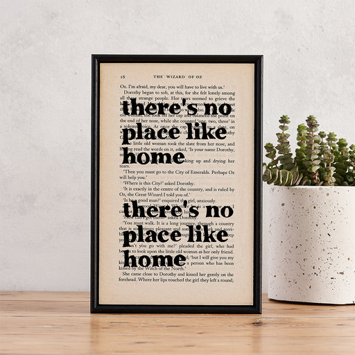 "Wizard Of Oz ""There's No Place Like Home"" Quote - Framed Book Page Art"
