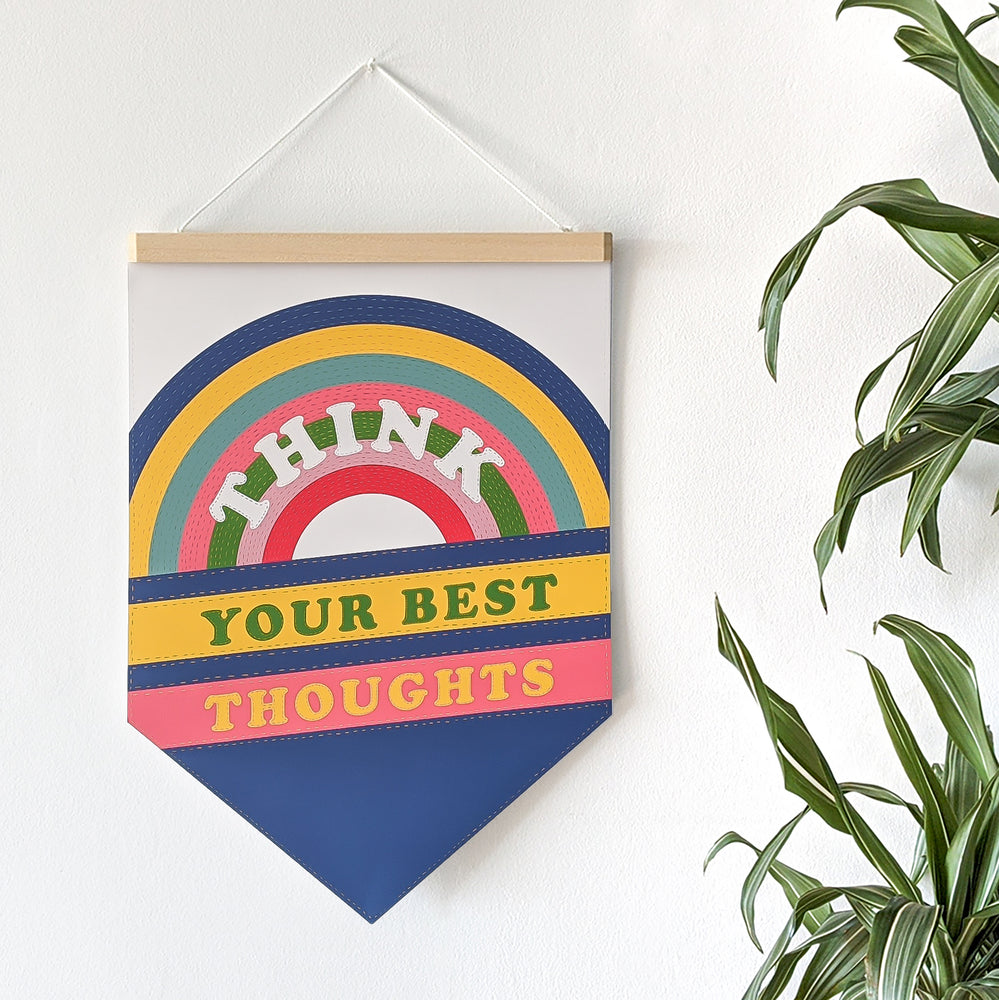 Empowering 'Think Your Best Thoughts' Pennant Print