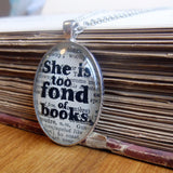 Bookishly literary quote art necklace
