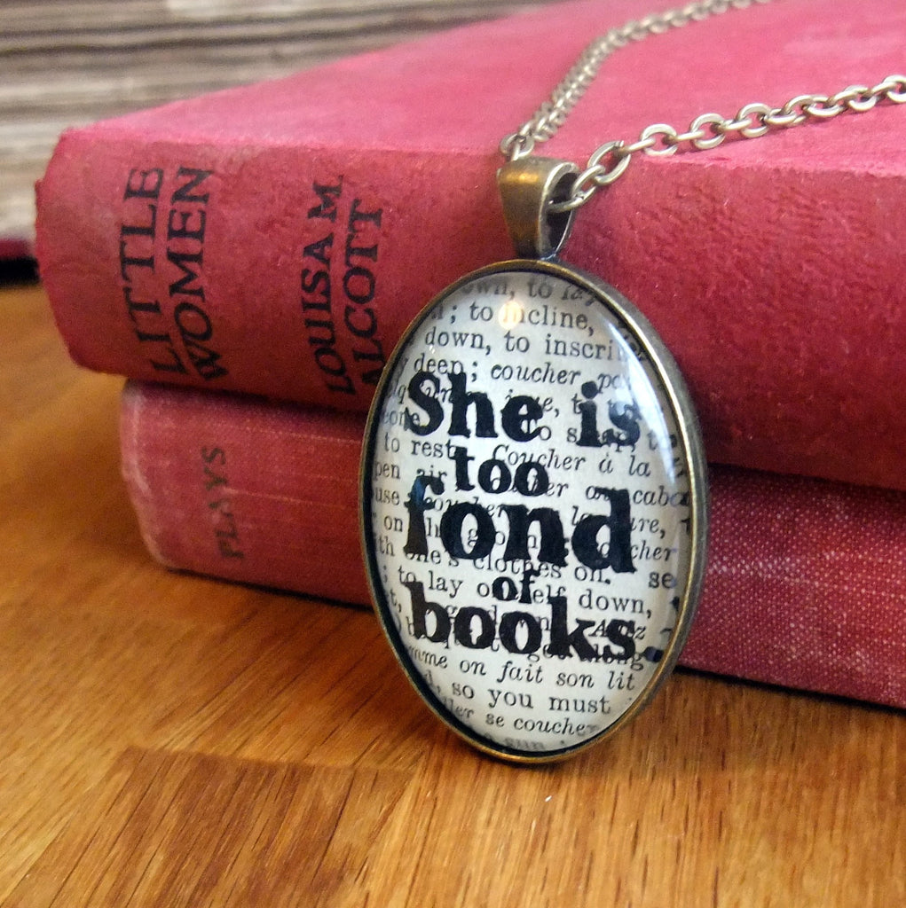 She is too fond of books bronze necklace