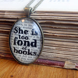 She is too fond of books book lover necklace